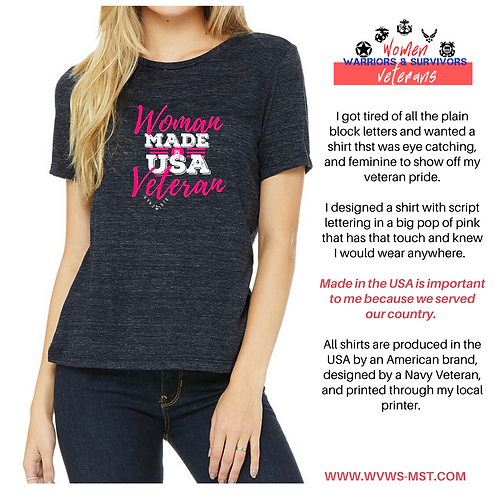 Woman Veteran Script - Made in USA -Pink