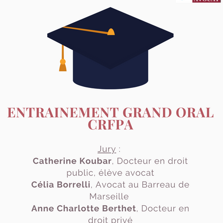 ENTRAINEMENT GRAND ORAL CRFPA !!!  📣