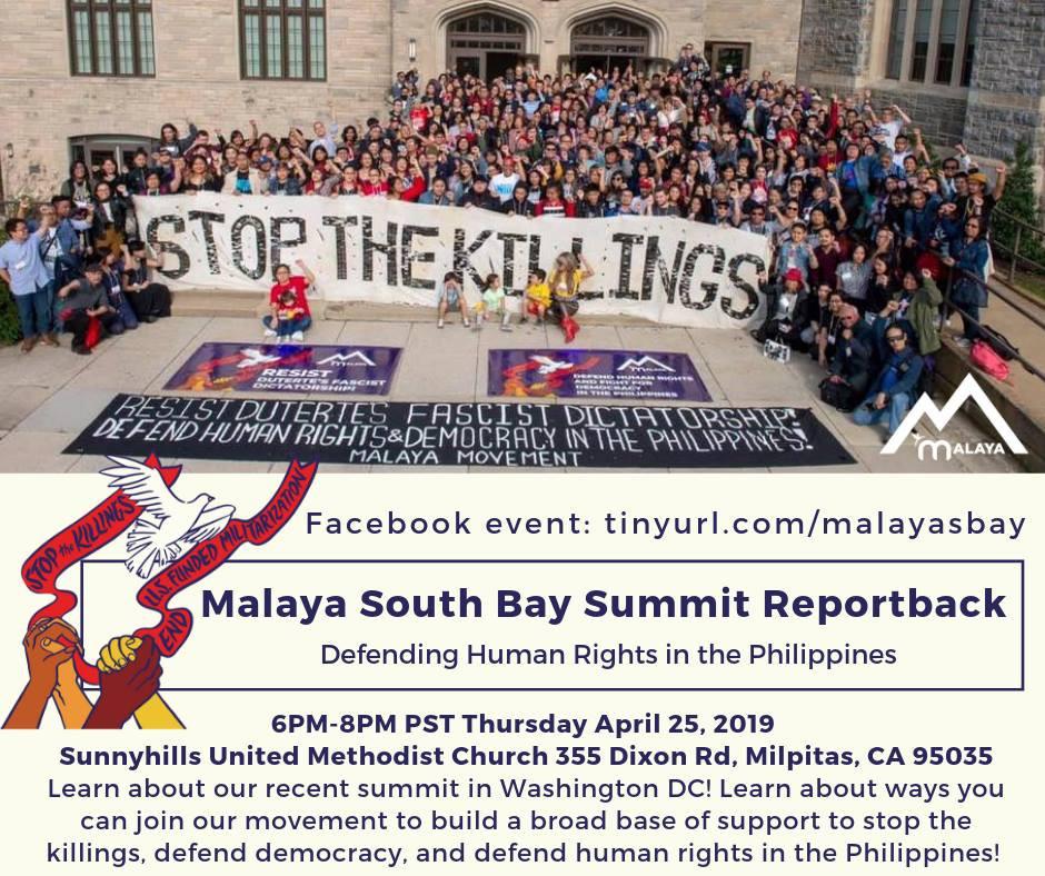 4/25 MILPITAS: Malaya South Bay Summit Report Back