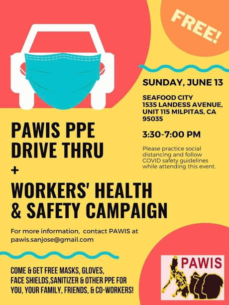June 13: Pawis PPE Drive Thru + Workers Health & Safety Campaign