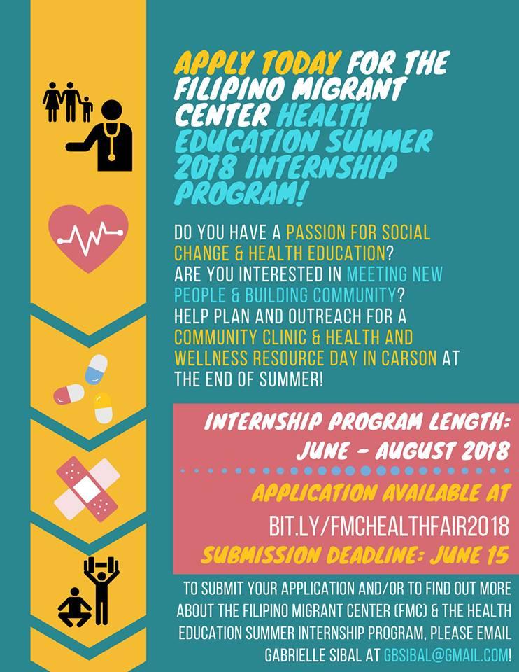 Filipino Migrant Center - Health Education Internship Program