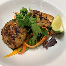 Thai crab fishcakes with pickled cucumber salad and a chilli and lemon and ginger dressing