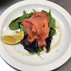 Smoked salmon platter with a whisky and dill dressing