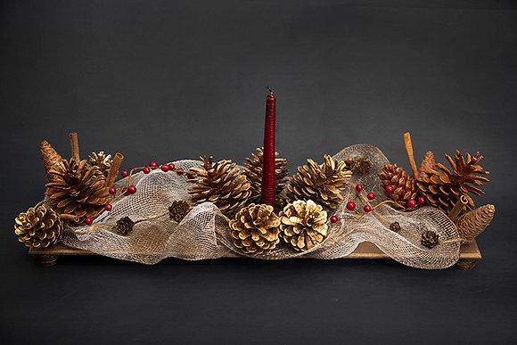 Rectangular Golden-Brown Central Table Piece