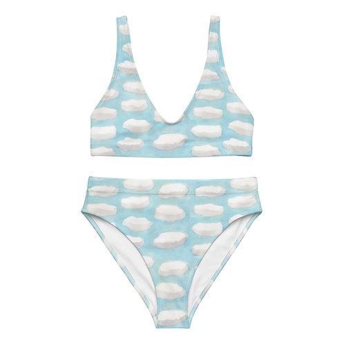 Fluffy Watercolor Clouds High-waisted bikini