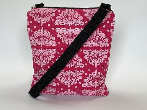 White Ornamento Pattern on Rose Crossbody Bag