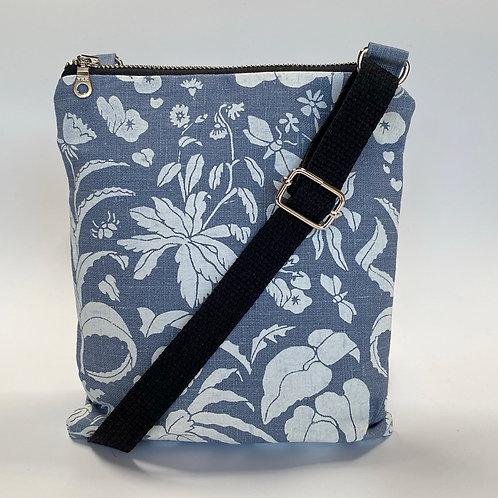 1000 Flowers on Blue Linen Crossbody Bag