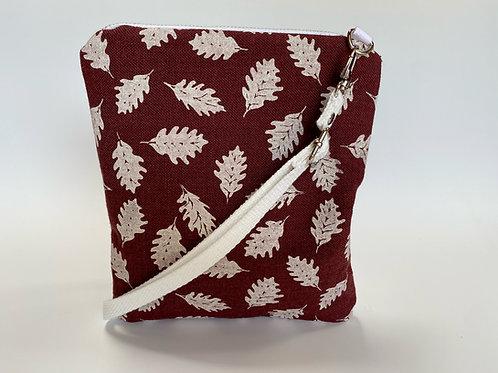 White Leaves on Burgundy Crossbody Bag
