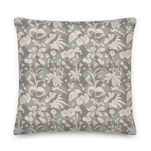 1000 Flowers Distressed Check - Premium Pillow