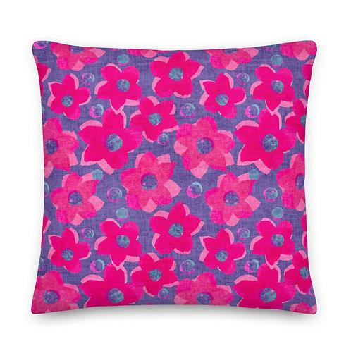 Pop Art Paper Flower Linen Pattern Premium Pillow