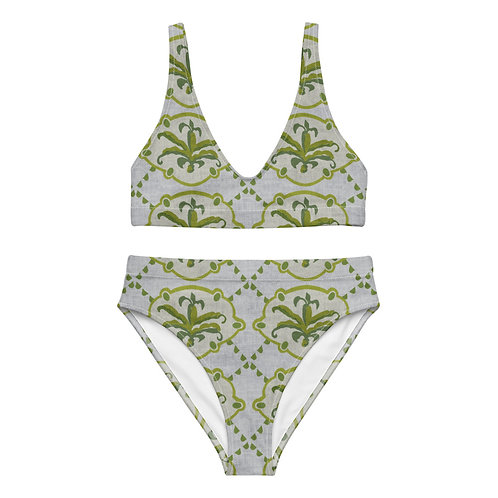 Vintage-style Green Floral high-waisted bikini