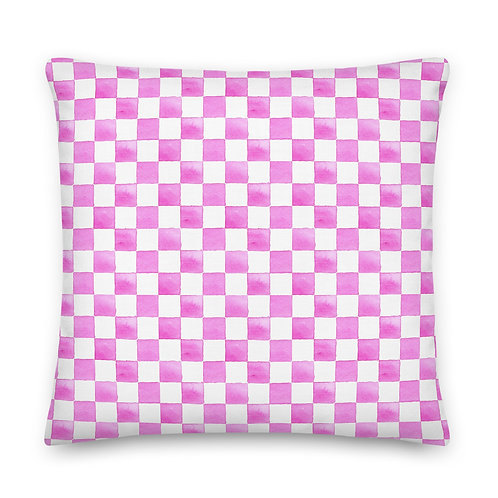 Pink Watercolor Checkerboard Premium Pillow