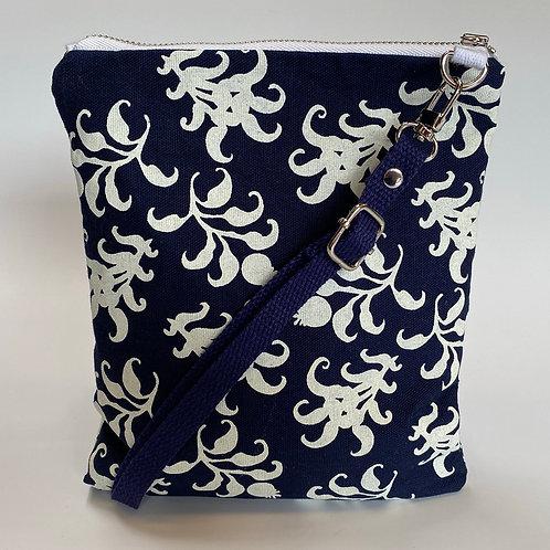 Scattered Thistle on Blue Crossbody Bag