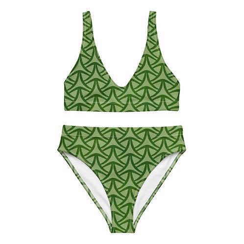 Vintage style green-on-green geometric pattern high-waisted bikini