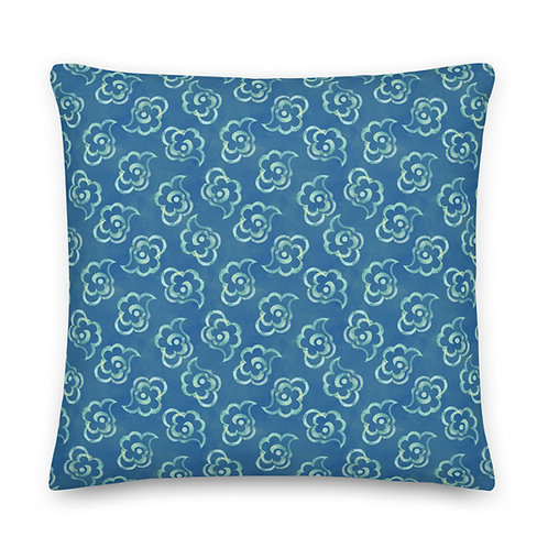 Fluffy Blue Abstract Clouds Premium Pillow