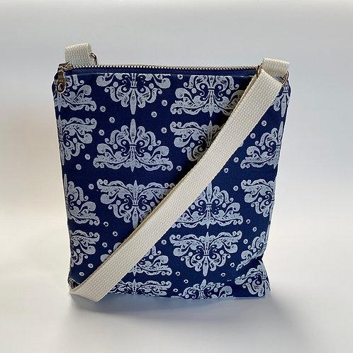 Ornamento in White on Blue Crossbody Bag