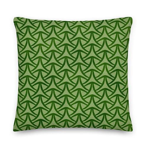 Vintage Style Green-on-green Geometric Pattern Premium Pillow