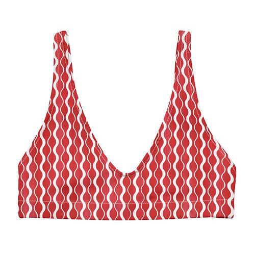 Groovy Red Pattern padded bikini top