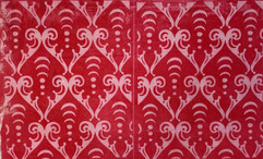 Arcana scroll pattern in red