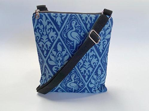 Medieval Diamond Pattern Crossbody Bag in Blue