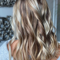 Blonde achieved by combining handpaintin