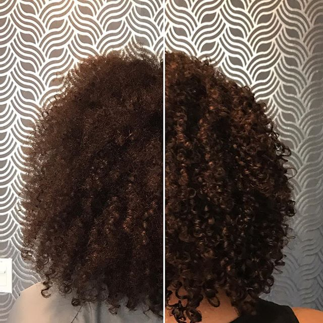 Ashlee's pictures were taken after her #devacut. The left side is before cleansing and conditioning
