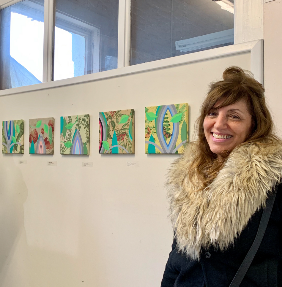 Megan Frances with five paintings in Intangible in Paint
