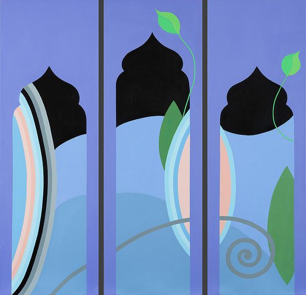 Fleur de Lys (Triptych 3 Windows) 36 x 37
