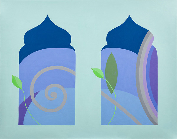 Fleur de lys (View through 2 Windows) 22 x 28