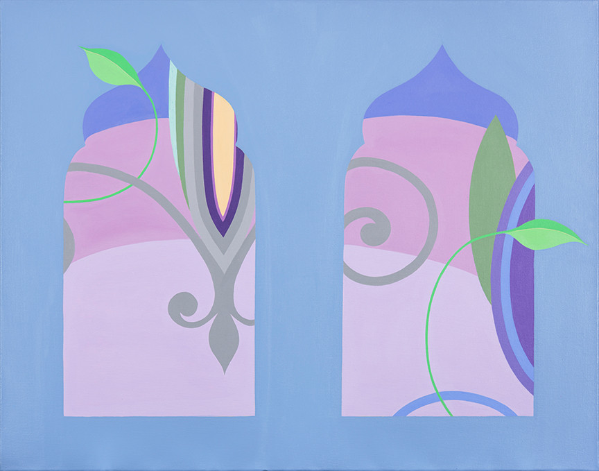 Fleur de Lys (Sunset View through 2 Windows) 22 x 28