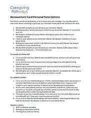 Bereavement Card Personal Note