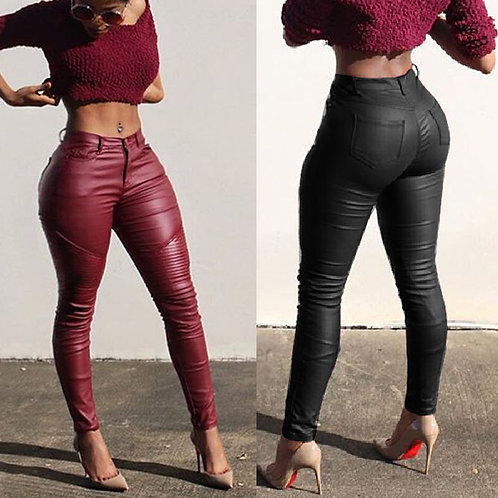 Sexy Ladies Leather Skinny High Waist Leggings