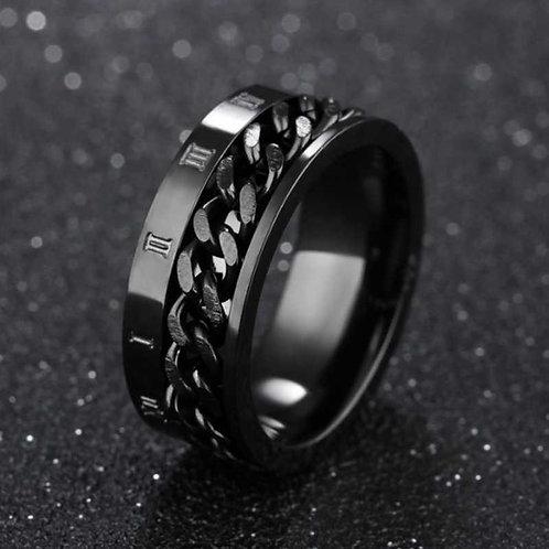 EDC Finger Fidget Spinner Stainless Steel Chain Rotatable Ring - Men Classical