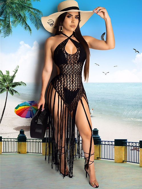Adogirl Hand Crochet Fishnet Long Tassel Summer Beach Dress