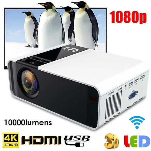 W10 Multimedia Home Theater 4K WiFi Bluetooth 3D HD 1080P LED Projector