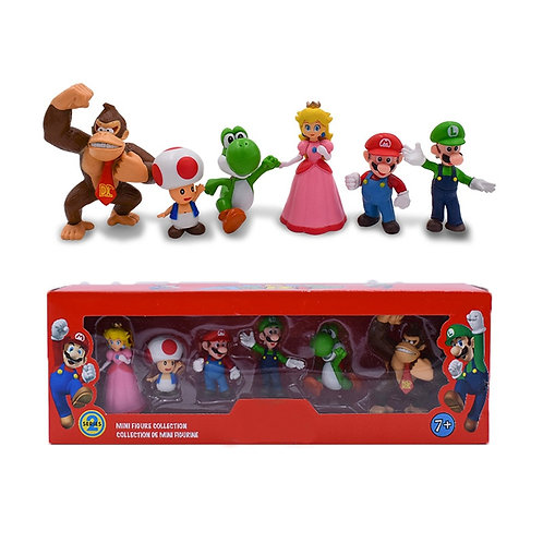 6Pcs/Set 3-7cm Mario Bros Action Figure -Mario Luigi Yoshi Mushroom in Gift Box