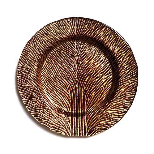 "Set/2 Tree of Life 8"" Gold Brown Salad Plates"