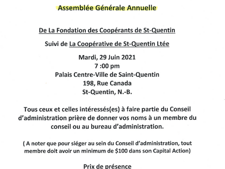 Assemblée Générale Annuelle Coopérative St-Quentin