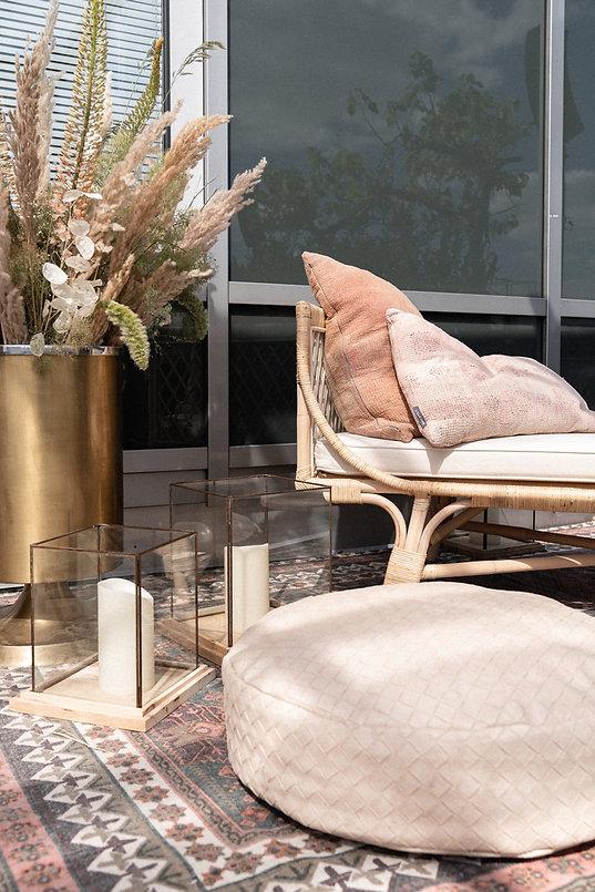 couch candles floral arrangement big vase event design