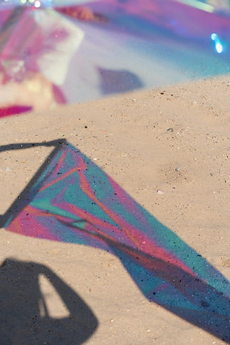 iridescent film, photo shoot, desert