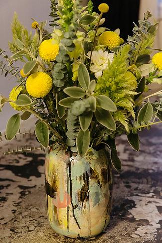 cermamic vase flowers yellow floral design berlin event design taube grau