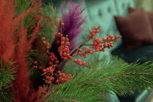 xmas party festive berries flowers red purple