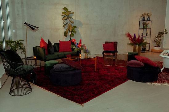 set design party xmas festive red green lounge