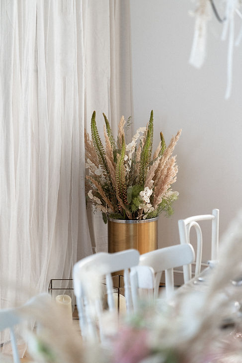 the nest floral arrangement event design curtain tulle berlin chairs