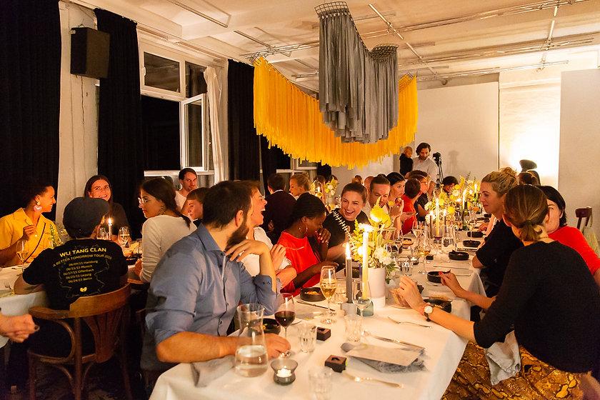 taube grau dinner party installation event one fancy fox got vintage wishbone berlin women
