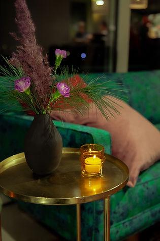 xmas party black vase flowers festive
