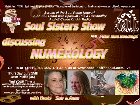 NUMEROLOGY on Sisters Show Thursday July 15th 2021