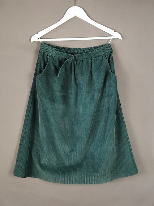 Green Belted Corduroy Skirt