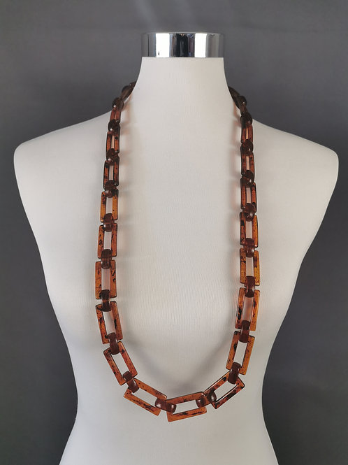 Brown Tortoiseshell Chain Necklace