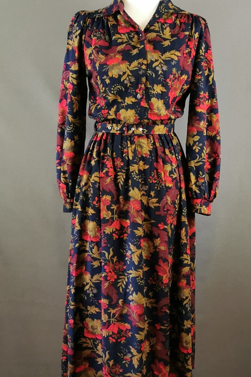 Midnight Blue with Flowers Dress